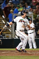 Fort Myers Miracle outfielder Max Kepler (23) at bat during a game against the St. Lucie Mets on April 18, 2014 at Hammond Stadium in Fort Myers, Florida.  St. Lucie defeated Fort Myers 15-9.  (Mike Janes/Four Seam Images)