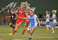 Portland, OR - Saturday August 19, 2017: Lindsey Horan, Camille Levin during a regular season National Women's Soccer League (NWSL) match between the Portland Thorns FC and the Houston Dash at Providence Park.