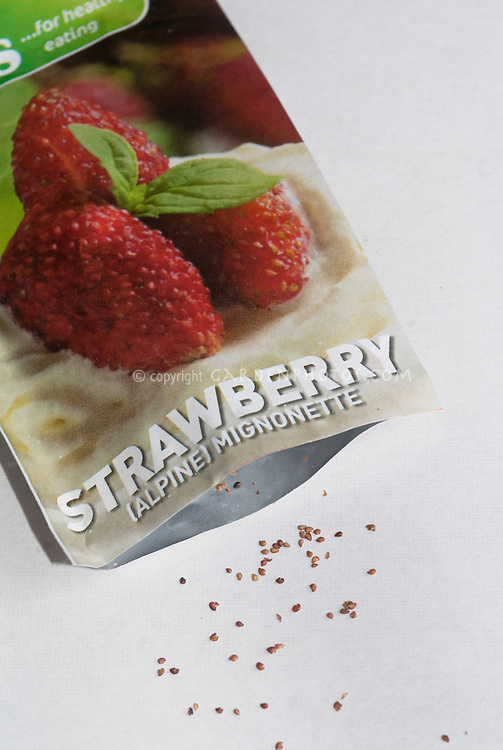 Alpine strawberry seeds mignonette and package
