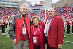 Wisconsin Badgers former Athletic Director Pat Richter, from left to right, former Chancellor Donna Shalala and former football coach and current Athletic Director Barry Alvarez during an NCAA College Football Big Ten Conference game against the Purdue Boilermakers Saturday, October 14, 2017, in Madison, Wis. The Badgers won 17-9. (Photo by David Stluka)