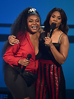 LOS ANGELES - JUNE 23: Taraji P. Henson (L) and Regina Hall perform on the 2019 BET Awards at the Microsoft Theater on June 23, 2019 in Los Angeles, California. (Photo by Frank Micelotta/PictureGroup)