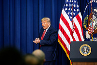 United States President Donald J. Trump departs after delivering remarks to National Border Patrol Council Members in the South Court Auditorium of the White House in Washington D.C., U.S. on Friday, February 14, 2020.<br /> <br /> Credit: Stefani Reynolds / CNP /MediaPunch