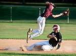 WATERTOWN,  CT-071018JS16-- Oakville's Justin Guerrera (22) slides under Naugatuck's Corey Plasky (11) to safely steal second base during their Zone 5 American Legion game Tuesday at the Taft School in Watertown. <br />  Jim Shannon Republican American