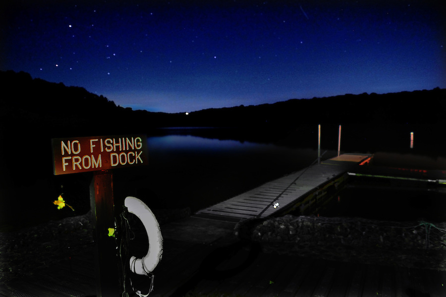 Clear night sky over Cross Creek Lake in Cross Creek State Park in Washington, Co. PA. stars moon no fishing<br /> copyright JimMendenhallPhotos.com