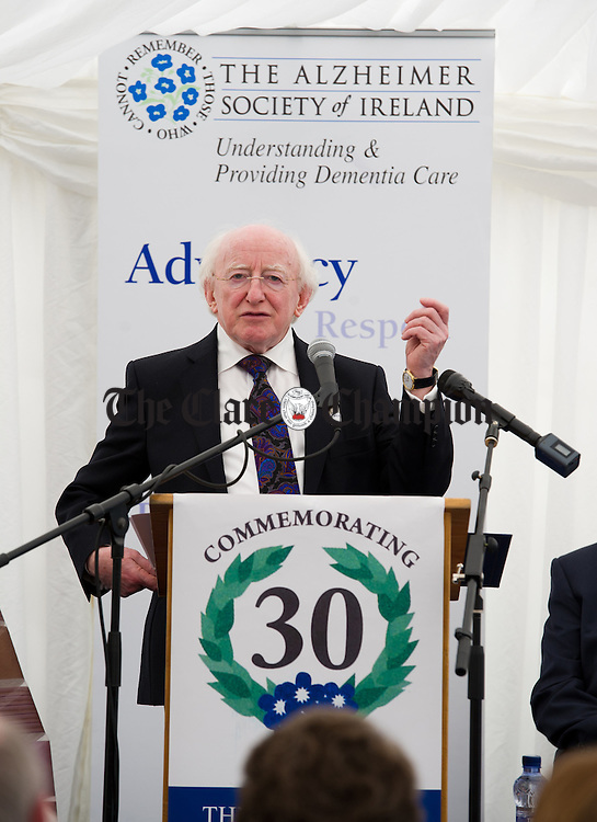 President Michael D Higgins addresses the gathering at the official opening of the Watermans Lodge day Care and Respite centre at Ballina. Photograph by John Kelly.