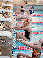 Madeleine Kaczmarowski '17 in the women's 50 yard backstroke. The Occidental College swim team competes against Lewis & Clark College and Westminster College in Taylor Pool on Jan. 6, 2015. (Photo by Marc Campos, Occidental College Photographer)
