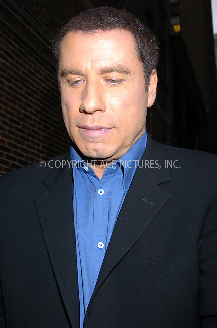 WWW.ACEPIXS.COM . . . . .  ....NEW YORK, SEPTEMBER 30, 2004....John Travolta makes an appearance at  Late Show with David Letterman in New York City.....Please byline: AJ Sokalner - ACE PICTURES..... *** ***..Ace Pictures, Inc:  ..Alecsey Boldeskul (646) 267-6913 ..Philip Vaughan (646) 769-0430..e-mail: info@acepixs.com..web: http://www.acepixs.com