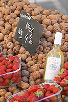 On a street market. Walnuts. Strawberries. Bordeaux city, Aquitaine, Gironde, France