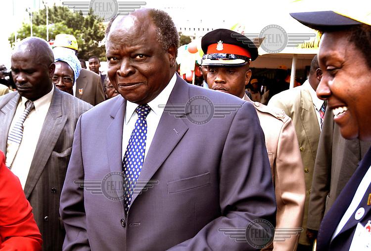 President Mwai Kibaki of Kenya during World Aids Day celebrations in Nairobi..