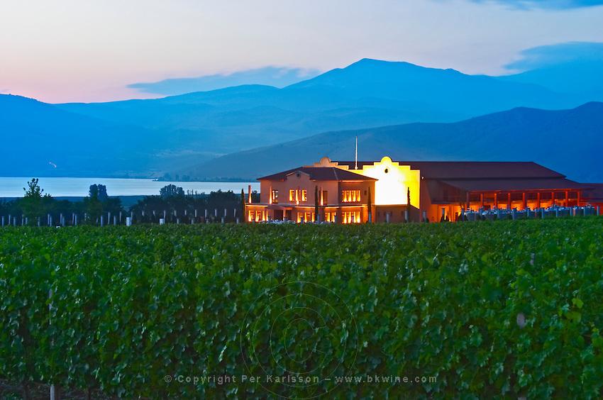 Vineyard. Winery building. Alpha Estate Winery, Amyndeon, Macedonia, Greece