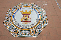 Tiled commemoration plague in the Plaza de Espana in Seville built in 1928 for the Ibero-American Exposition of 1929, Seville Spain