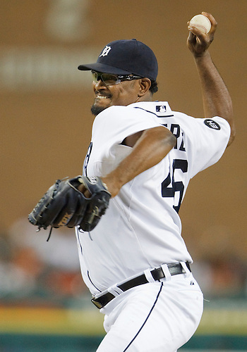 July 21, 2010:  Detroit Tigers relief pitcher Jose Valverde (#46) delivers pitch during game action between the Texas Rangers and Detroit Tigers at Comerica Park in Detroit, Michigan.  The Tigers defeated the Rangers 4-1.