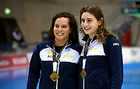 Women's 3m Synchro Springboard Gold Medallists medallists Maddison Keeney and Anabelle Smith<br /> <br /> Photographer Hannah Fountain/CameraSport<br /> <br /> FINA/CNSG Diving World Series 2019 - Day 1 - Friday 17th May 2019 - London Aquatics Centre - Queen Elizabeth Olympic Park - London<br /> <br /> World Copyright © 2019 CameraSport. All rights reserved. 43 Linden Ave. Countesthorpe. Leicester. England. LE8 5PG - Tel: +44 (0) 116 277 4147 - admin@camerasport.com - www.camerasport.com
