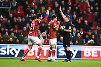 Marlon Pack and Korey Smith of Bristol City remonstrate with the referee during the Sky Bet Championship match between Bristol City and Reading at Ashton Gate, Bristol, England on 26 December 2017. Photo by Paul Paxford.