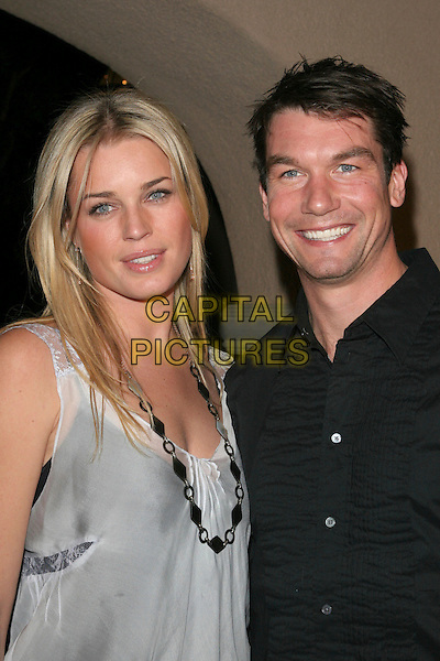 REBECCA ROMIJN & JERRY O'CONNELL.NBC 2006 TCA Winter Press Tour Party - Arrivals held at the Ritz Carlton,Pasadena, California..January 22nd, 2006.Photo: Zach Lipp/AdMedia/Capital Pictures.Ref: ZL/ADM.headshot portrait black white top shirt celebrity couple necklace.www.capitalpictures.com.sales@capitalpictures.com.© Capital Pictures.
