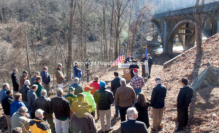 THOMASTON  CT-06 FEBRUARY 2011 020612DA04 - U.S. Rep. Chris Murphy addresses a crowd during a press conference at Reynolds Bridge on Waterbury Road in Thomaston on Monday. The bridge which is a structurally deficient is calling for a long-term extension of critical federal transportation funding. The most recent six-month extension of current highway funding will expire on March 31, 2012.