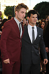 "LOS ANGELES, CA. - June 24: Robert Pattinson and Taylor Lautner arrive to the premiere of ""The Twilight Saga: Eclipse"" during the 2010 Los Angeles Film Festival at Nokia Theatre L.A. Live on June 24, 2010 in Los Angeles, California."