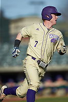 Justice Bigbie (7) of the Western Carolina Catamounts hustles down the first base line against the Saint Joseph's Hawks at TicketReturn.com Field at Pelicans Ballpark on February 23, 2020 in Myrtle Beach, South Carolina. The Hawks defeated the Catamounts 9-2. (Brian Westerholt/Four Seam Images)