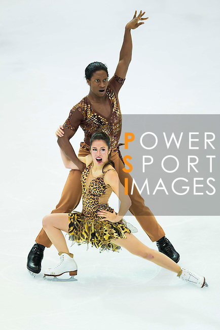 TAIPEI, TAIWAN - JANUARY 23:  Kharis Ralph and Asher Hill of Canada perform their routine at the Ice Dance Free Dance event at the Ice Dance Free Dance event during the Four Continents Figure Skating Championships on January 23, 2014 in Taipei, Taiwan.  Photo by Victor Fraile / Power Sport Images *** Local Caption *** Kharis Ralph; Asher Hill