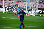 1st October 2017, Camp Nou, Barcelona, Spain; La Liga football, Barcelona versus Las Palmas; Luis Suarez of FC Barcelona laments a opportunity as the game is played behind closed doors due to the riots in Barcelona during the Catlaonio referendum