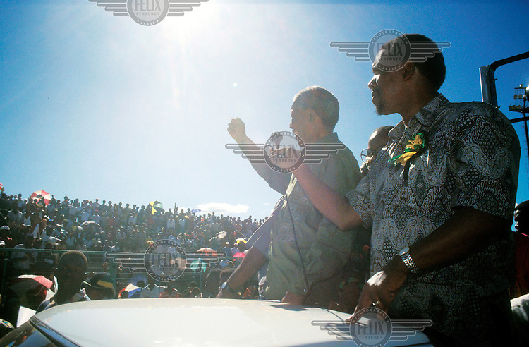 Nelson Mandela at a rally celebrating the ANC (African National Congress) election victory.