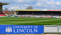 A general view of Sincil Bank, home of Lincoln City FC<br /> <br /> Photographer Andrew Vaughan/CameraSport<br /> <br /> The EFL Sky Bet League Two - Lincoln City v Cheltenham Town - Saturday 13th April 2019 - Sincil Bank - Lincoln<br /> <br /> World Copyright &copy; 2019 CameraSport. All rights reserved. 43 Linden Ave. Countesthorpe. Leicester. England. LE8 5PG - Tel: +44 (0) 116 277 4147 - admin@camerasport.com - www.camerasport.com
