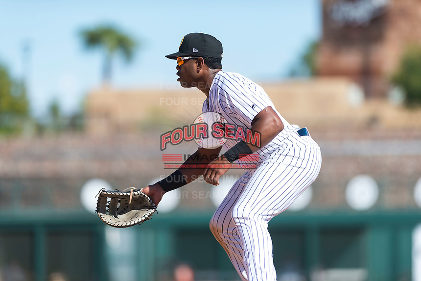 Glendale Desert Dogs first baseman Steven Sensley (21), of the New York Yankees organization, during an Arizona Fall League game against the Mesa Solar Sox at Camelback Ranch on October 15, 2018 in Glendale, Arizona. Mesa defeated Glendale 8-0. (Zachary Lucy/Four Seam Images)