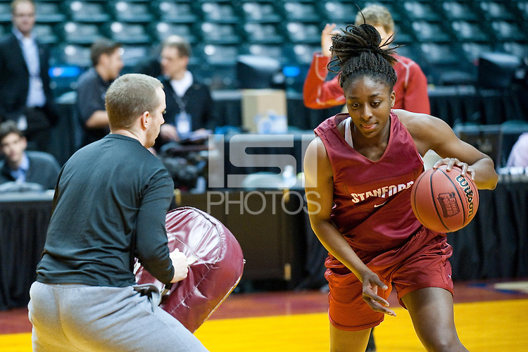 INDIANAPOLIS, IN - APRIL 2, 2011: Nnemkadi Ogwumike during an open practice session at Conseco Fieldhouse at the NCAA Final Four in Indianapolis, IN on April 1, 2011.