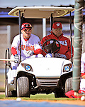 28 February 2010: Washington Nationals catcher Ivan Rodriguez (left) and Senior Advisor in Player Development and Spring Instructor Pat Corrales (right) watch practice activity during Spring Training at the Carl Barger Baseball Complex in Viera, Florida. Mandatory Credit: Ed Wolfstein Photo