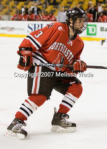 Ryan Ginand (NU - 3) - The Northeastern University Huskies defeated the Harvard University Crimson 3-1 in the Beanpot consolation game on Monday, February 12, 2007, at TD Banknorth Garden in Boston, Massachusetts.