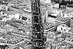 The Photography of infrastructure, a main road with traffic in Paris via birds eye view.