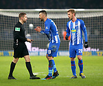 16.03.2019, OLympiastadion, Berlin, GER, DFL, 1.FBL, Hertha BSC VS. Borussia Dortmund, <br /> DFL  regulations prohibit any use of photographs as image sequences and/or quasi-video<br /> <br /> im Bild Rote Karte fuer Vedad Ibisevic (Hertha BSC Berlin #19), Fabian Lustenberger (Hertha BSC Berlin #28)<br /> Schiedsrichter Tobias Welz<br /> <br />       <br /> Foto &copy; nordphoto / Engler