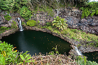 The pools and waterfalls of 'Ohe'o or 'Ohe'o Gulch (also called Seven Sacred Pools) in the Kipahulu District of Haleakala National Park, East Maui.