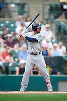 Columbus Clippers center fielder Collin Cowgill (7) at bat during a game against the Rochester Red Wings on June 16, 2016 at Frontier Field in Rochester, New York.  Rochester defeated Columbus 6-2.  (Mike Janes/Four Seam Images)