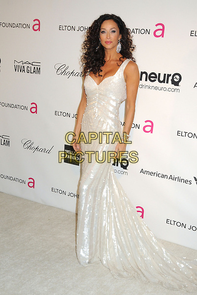 Sofia Milos.21st Annual Elton John Academy Awards Viewing Party held at West Hollywood Park, West Hollywood, California, USA..February 24th, 2013.oscars full length dress silver white sequins sequined  .CAP/ADM/BP.©Byron Purvis/AdMedia/Capital Pictures.