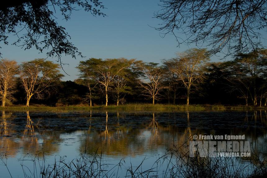 Nsumo pan at uMkhuze.May 2009, winter..uMkhuze Game Reserve, Kwazulu-Natal, South Africa.