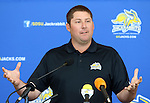 BROOKINGS, SD - AUGUST 11: Casey VanDamme,<br /> Head Coach of South Dakota State University Golf Team, addresses the media Monday afternoon at the Jacks Media Day in Brookings. (Photo by Dave Eggen/Inertia)