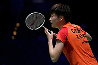 13th March 2020, Arena Birmingham, Birmingham, UK;  Chinas Chen Yufei competes during for women s singles quarterfinal match with Thailand s Ratchanok Intanon at the All England Open Badminton Championships in Birmingham