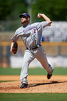 Jacksonville Jumbo Shrimp relief pitcher Dylan Lee (27) during a Southern League game against the Mississippi Braves on May 5, 2019 at Trustmark Park in Pearl, Mississippi.  Mississippi defeated Jacksonville 1-0 in ten innings.  (Mike Janes/Four Seam Images)