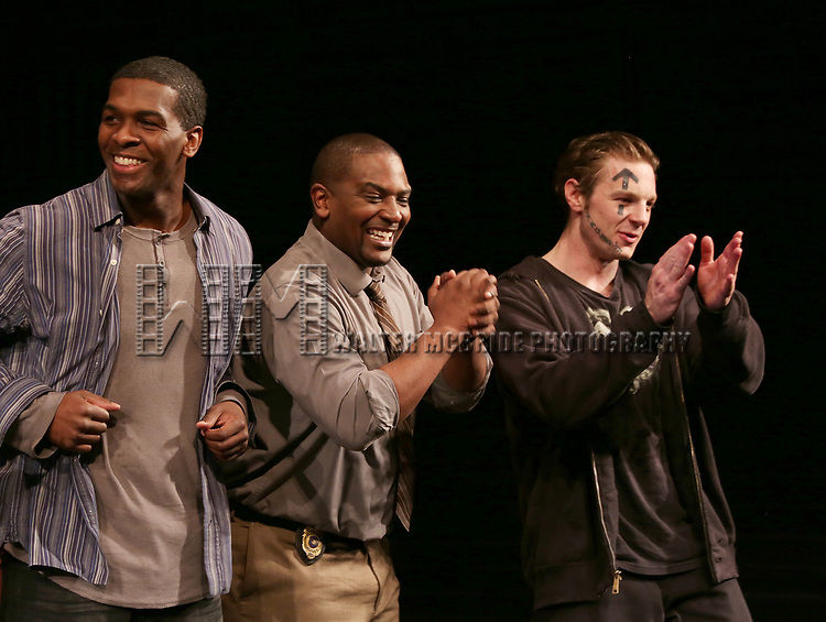 """Khris Davis, Lance Coadie Williams and Will Pullen during curtain call bows for the Broadway Opening Night of """"Sweat"""" at Studio 54 on March 26, 2017 in New York City."""