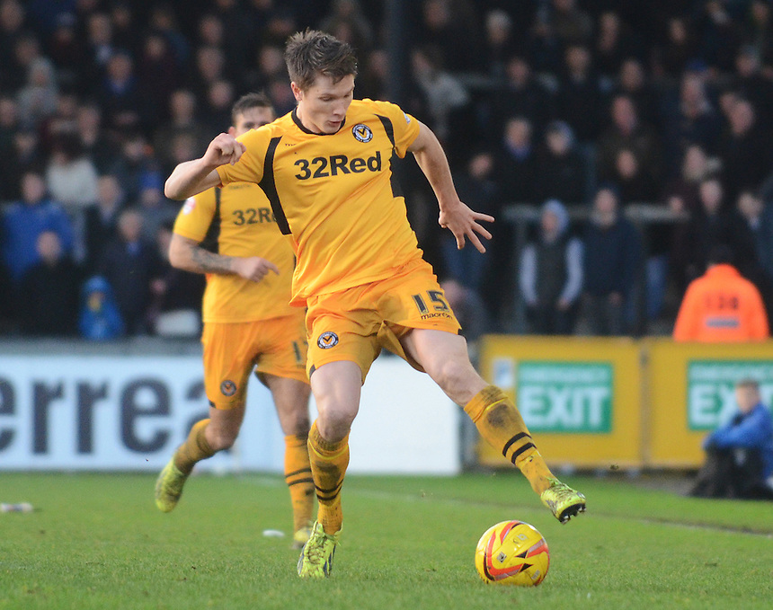 Newport County's Ryan Burge in action during todays match  <br /> <br /> Photo by Kevin Barnes/CameraSport<br /> <br /> Football - The Football League Sky Bet League Two - Bristol Rovers v Newport County AFC - Saturday 25th January 2014 - Memorial Stadium - Bristol<br /> <br /> &copy; CameraSport - 43 Linden Ave. Countesthorpe. Leicester. England. LE8 5PG - Tel: +44 (0) 116 277 4147 - admin@camerasport.com - www.camerasport.com