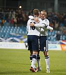 Jordan Rhodes celebrates after scoring goal no 2 with Kenny Miller