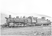 Fireman side view of K-36 #480 in Salida yards.<br /> D&amp;RGW  Salida, CO  Taken by Payne, Andy M. - 5/2/1955