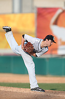 P.J. Piesko (31) of the Oakland Grizzlies pitches during a game against the Southern California Trojans at Dedeaux Field on February 21, 2015 in Los Angeles, California. Southern California defeated Oakland, 11-1. (Larry Goren/Four Seam Images)
