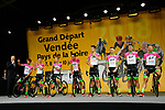 EF-Drapac-Cannondale on stage at the Team Presentations for the 105th Tour de France 2018 held on Napoleon Square in La Roche-sur-Yon, France. 5th July 2018. <br /> Picture: ASO/Bruno Bade | Cyclefile<br /> All photos usage must carry mandatory copyright credit (&copy; Cyclefile | ASO/Bruno Bade)