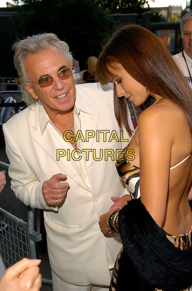 PETER STRINGFELLOW & BELLA WRIGHT.Attending La Dolce Vita Fundraising Ball,.Royal Albert Hall,.London, England, July 6th 2007..half length cream suit sunglsses leopard tiger animal print gold brown dress black shawl pashmina back behind.CAP/CAN.©Can Nguyen/Capital Pictures
