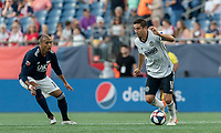 FOXBOROUGH, MA - JUNE 26: Alejandro Bedoya #11 dribbles at midfield during a game between Philadelphia Union and New England Revolution at Gillette Stadium on June 26, 2019 in Foxborough, Massachusetts.