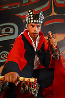 Sheet'ka Kwaan Naa Kahidi dancers perform at the Tlingit, Sitka Tribe of Alaska Community House in Sitka, Alaska