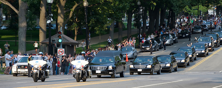 The Kennedy family waves to the crowd from the motorcade containing the body of the late Senator Edward Kennedy heads down Constitution Ave in Washington D.C. to Arlington National Ceremony where the Senator will be laid to rest beside his brothers, Robert F. Kennedy and John F. Kennedy, August 29, 2009.
