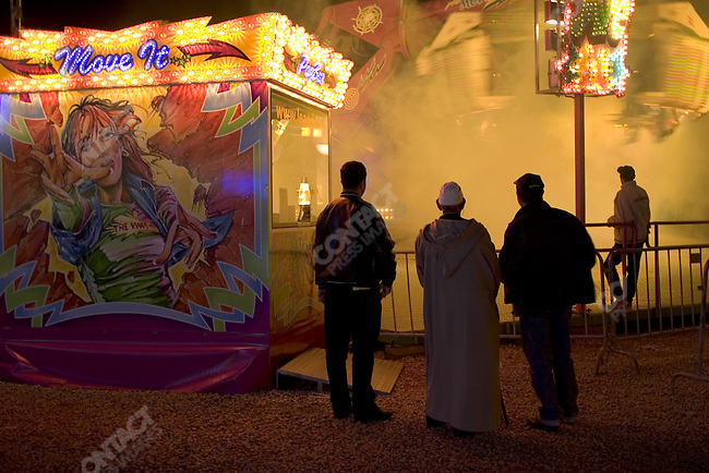 Traveling European carnival in Casablanca, Morocco.